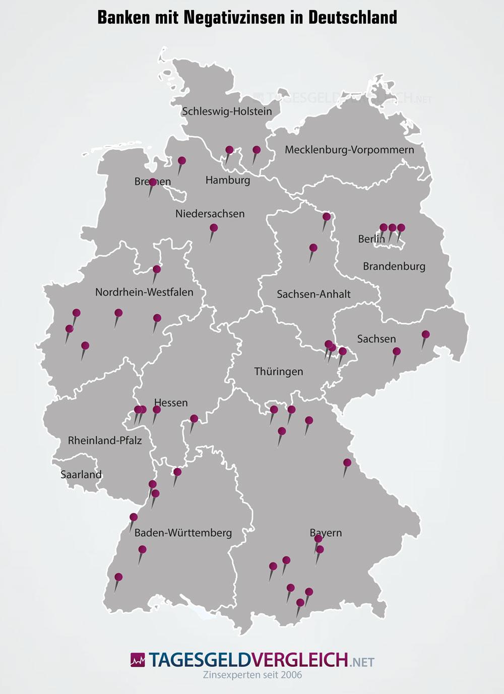 Landkarte der Banken mit Strafzinsen für Privatkunden in Deutschland 2019