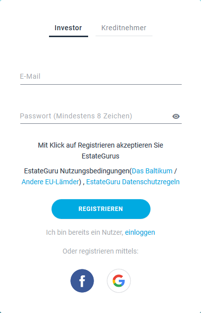 So funktioniert die Registration bei EstateGuru