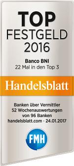 Top Festgeld 2016 laut Handelsblatt