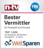 Bester Vermittler für Festgeld aus Europa laut n-tv