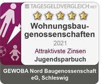 Auszeichnung für attraktivste Zinsen GEWOBA Nord Baugenossenschaft eG, Schleswig Jugendsparbuch